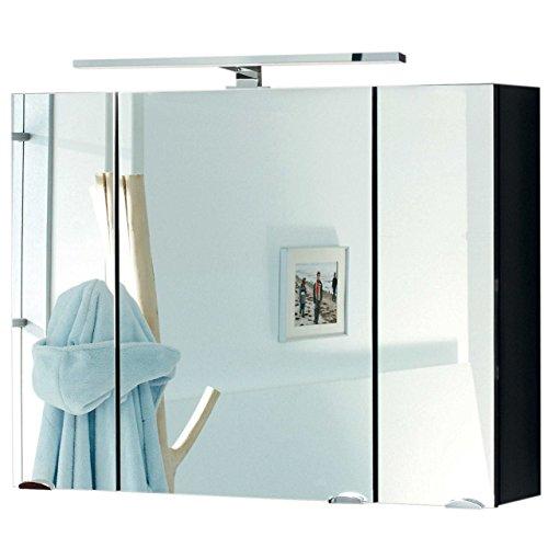 Badmöbel-Set VERONA Small Anthrazit 2-tlg, Spiegelschrank 90 cm LED beleuchtet, Badezimmer Waschplatz 100 cm mit 2 Schubladen (Waschbecken + Waschtisch-Unterschrank)