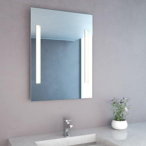NEG Badspiegel MITRA 80x60cm (HxB) Spiegel (eckig) mit integrierter und energiesparender LED-Beleuchtung (warmweiß 3000 Kelvin) IP44