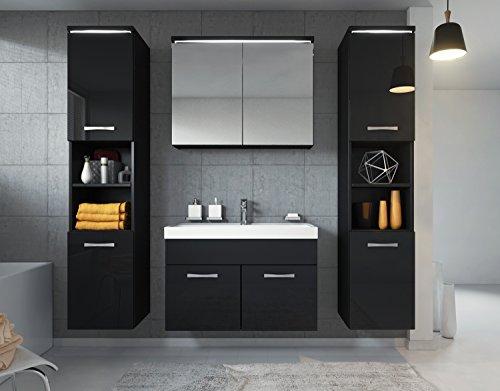 Badezimmer Badmöbel Paso XL LED 80 cm Waschbecken Hochglanz Schwarz Fronten - Unterschrank 2x Hochschrank Waschbecken Möbel