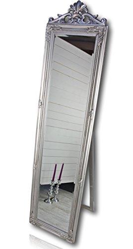 Standspiegel groß antik mit Patina | Spiegel mit Fuß barock aus Holz | im Landhausstil als Badspiegel | Schminkspiegel bzw. Frisierspiegel für das Landhaus | Ankleidespiegel in weiss (Silber, 180 x 45 cm (mit Krone))