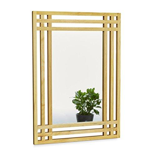 Relaxdays Spiegel aus Kiefernholz H x B x T: ca. 70 x 50 x 2 cm Wandspiegel fürs Bad zum Aufhängen großer Badezimmerspiegel mit Rahmen aus Holz als Badspiegel und Deko-Spiegel Holzrahmenspiegel, natur