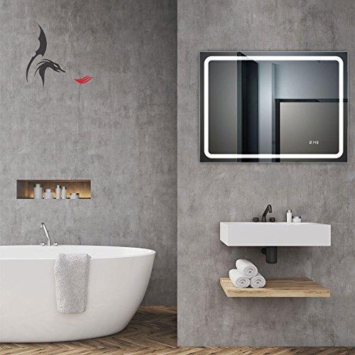 TOP AKTION WSV! Badspiegel mit Uhr, Bruchsal 80x60cm, Badezimmerspiegel mit Licht, Energieklasse A+