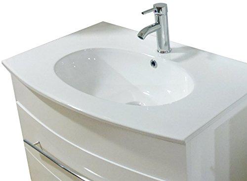 SAM® Badmöbel-Set 2-tlg, Dali, hochglanz weiß, Softclose Badezimmermöbel, Waschplatz 80 cm Keramikbecken, Spiegelschrank