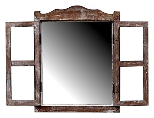 more-decor-de Kleines Spiegelfenster Badspiegel mit Fensterläden - aus Holz - im Landhaus Stil - Braun - 30,5cm x 38cm