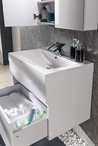 SAM® Badmöbel-Set 2-tlg, Parma, Hochglanz weiß, Softclose Badezimmermöbel, Waschplatz 70 cm Mineralgussbecken, Spiegelschrank, Waschplatz