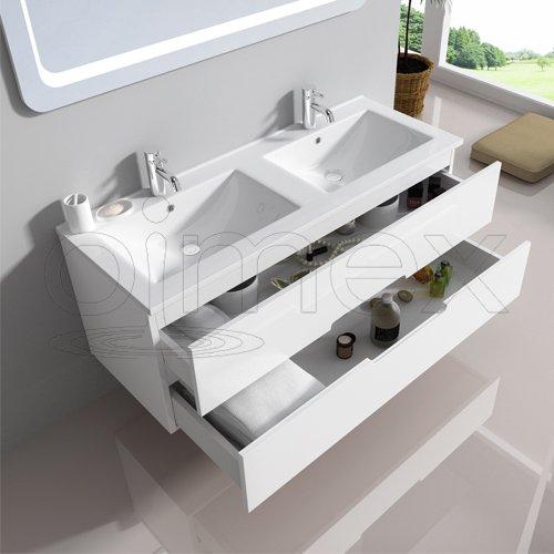 """oimexgmbh Design Badmöbel Set """"Tiana"""" Dual Weiss Hochglanz Doppel Waschtisch 120cm inkl. Armatur LED Spiegel Badezimmermöbel Set mit Waschbecken"""