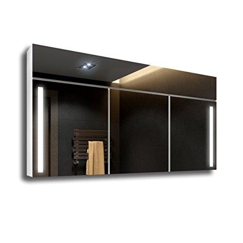 CUSTOM SPIEGELSCHRANK 100x67 cm LED Badspiegel by Artforma mit Beleuchtung Wandspiegel | 3 Türen | Schalter | Zubehör