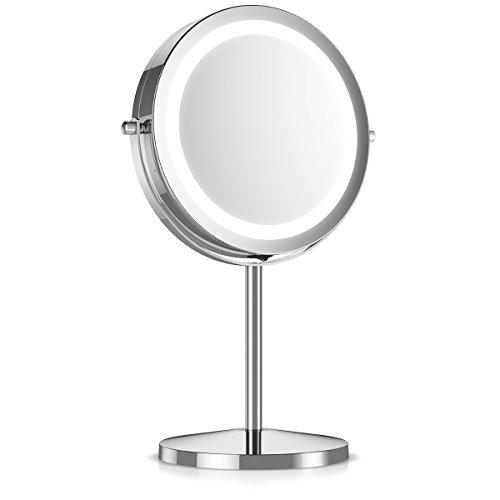 Navaris Kosmetikspiegel mit LED Beleuchtung - Spiegel mit 5fach Vergrößerung Make Up Standspiegel - Schminkspiegel beleuchtet 360° drehbar in Silber