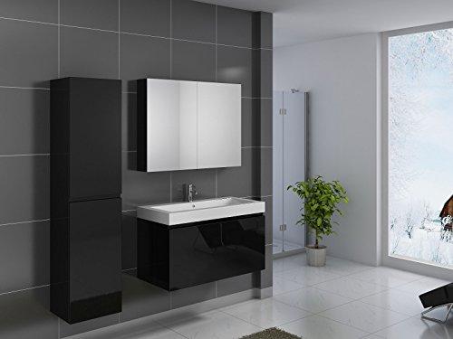SAM® Badmöbel-Set 3-tlg, Parma, Hochglanz schwarz, Softclose Badezimmermöbel, Waschplatz 100 cm Mineralgussbecken, Spiegelschrank, Hochschrank