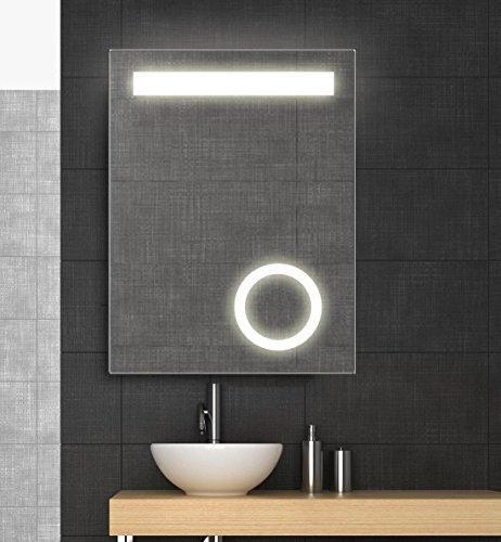Spiegel mit LED Beleuchtung und Kosmetikspiegel, 60x80 cm, Badspiegel, Lichtspiegel, Neutralweiß