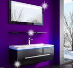 90 cm Schwarz Badmöbelset Atlantis Hochglanz Lackiert Fronten spiegel mit beleuchtung, Waschbecken