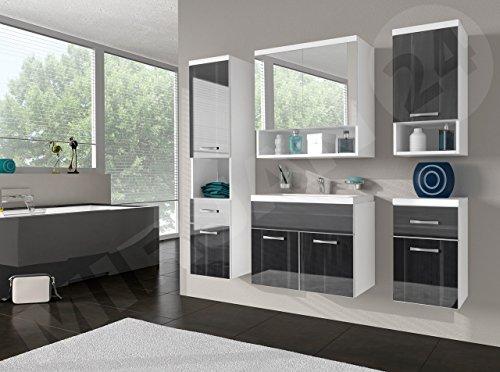 Badmöbel Set Bella III mit Waschbecken und Siphon, Modernes Badezimmer, Komplett, Spiegelschrank, Waschtisch, Hochschränk, Hängeschrank Möbel (Weiß/Nuss Schwarz Hochglanz)