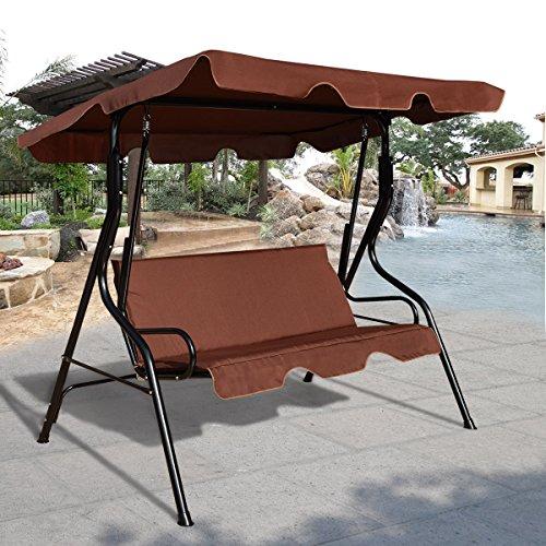 GO Plus COSTWAY Hollywoodschaukel Gartenschaukel Schaukel Gartenliege Schaukelbank Gartenbank mit Sonnendach 3-Sitzer (Braun)