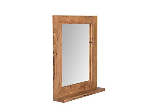 Woodkings Spiegel 68x78 cm Auckland Echtholz Akazie massiv Badspiegel Wandspiegel mit Ablage Badmöbel Badezimmermöbel Massivholz