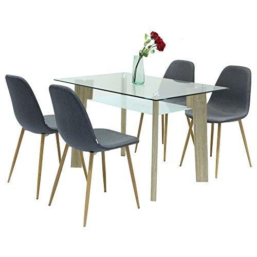 Ambiendi esszimmerst hle skandinavisch stil stuhl ac metallgestell grauer stoffbezug - Stuhl skandinavisch ...