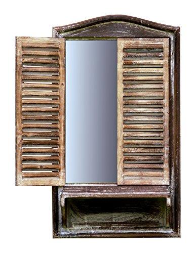amadeco Spiegelfenster Badspiegel Spiegel mit Klappläden und Ablage - aus Holz - im Landhaus Stil - Braun - 40cm x 70cm