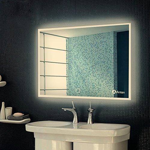 Anten Bad Spiegel für Schminktisch und Spiegelschrank Badspiegel mit LED Beleuchtung/ Wandspiegel Groß/ Spiegelleuchte/ Spiegel Badezimmer 25W Neutralweiß 4000k AC110-240V mit Touch Schalter: Bohren, Wandmontage