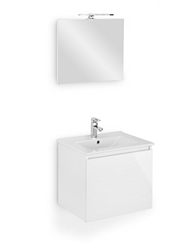 Galdem Bad-Set CUBE Gäste WC Set Gästebad Badmöbel Set Waschbecken Unterschrank Keramikwaschbecken Waschtisch Spiegel Beleuchtung Softclose (Weiß Hochglanz)