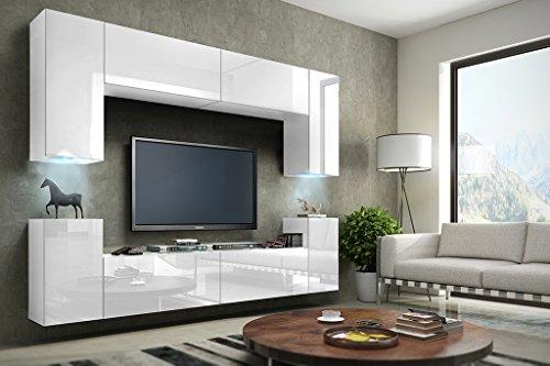 future 1 wohnwand anbauwand schrankwand m bel wand tv st nder wohnzimmer hochglanz schwarz. Black Bedroom Furniture Sets. Home Design Ideas