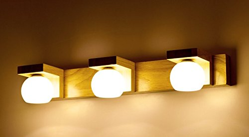 GaoHX Nordic Led Schlafzimmer Massivholz Wandleuchte Nachttischlampe Die Treppe Badezimmer Bad Spiegel Lampe Lampen Holz,Drei Köpfe