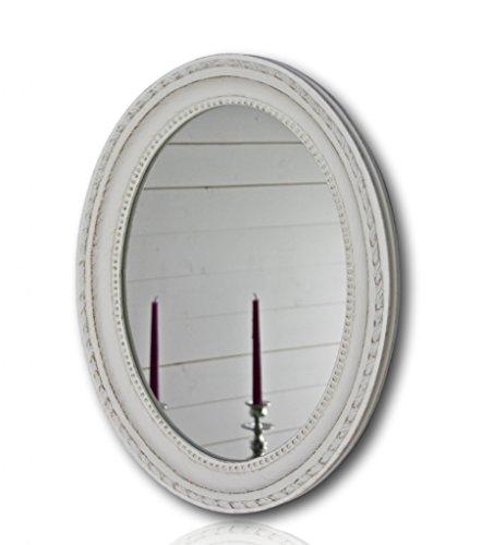 elbmöbel Wandspiegel oval in weiß antik mit Patina 37 x 47cm - Spiegel barock aus Holz - im Landhausstil als Badspiegel - Schminkspiegel bzw. Frisierspiegel für das Landhaus