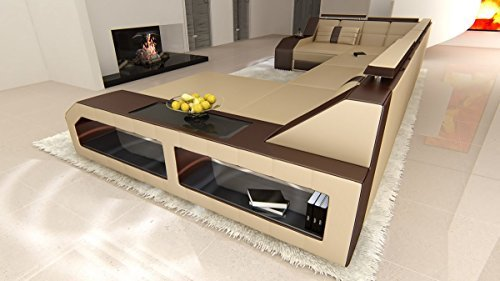 leder wohnlandschaft arezzo u form sandbeige dunkelbraun sofa ledersofa couch ledercouch ecksofa. Black Bedroom Furniture Sets. Home Design Ideas