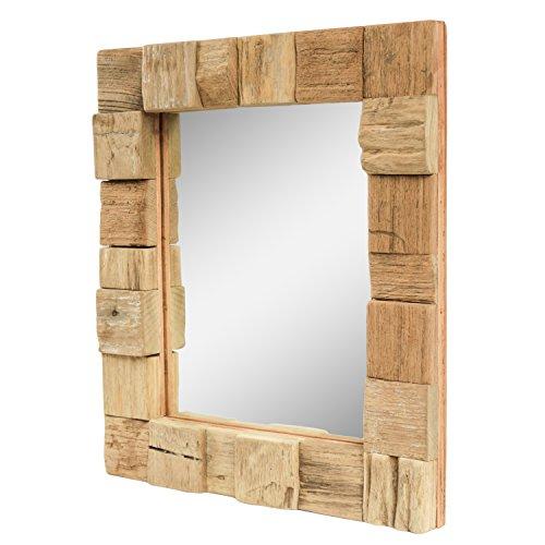 Dekorativer Spiegel mit Holzrahmen Mosaik Quadrate Wandspiegel aus Thailand Massiv Holz-Spiegel Dekospiegel ca. 30 x 35 cm Nr. 12