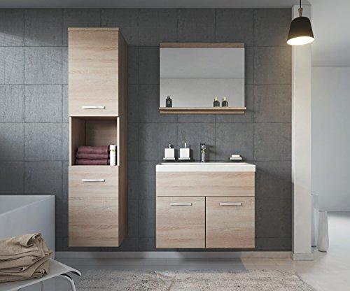 Badezimmer Badmöbel Montreal 60 cm Waschbecken Sonoma Eiche - Unterschrank Hochschrank Waschtisch Möbel