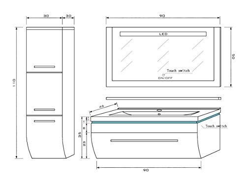 70 cm schwarz mit einem h ngeschrank badm belset vormontiert badezimmerm bel waschbeckenschrank. Black Bedroom Furniture Sets. Home Design Ideas