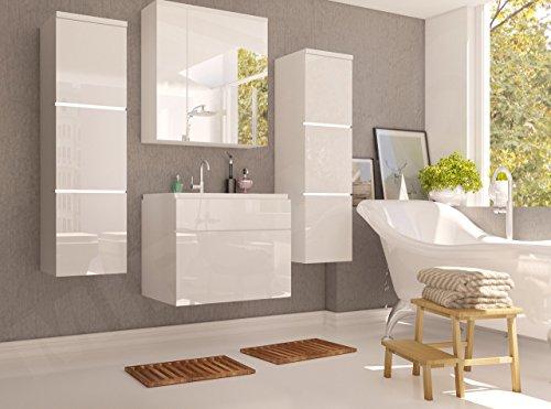 Badmöbel Set Porto mit Waschbecken und Siphon, Modernes Badezimmer, Komplett, ink. Spiegelschrank, Waschtisch, Hochschrank, Möbel (mit weißer LED Beleuchtung, Weiß / Weiß Hochglanz)