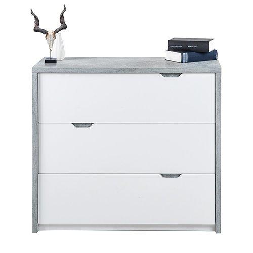 phoenix bruno kommode 3 schubladen holz beton weiss 40 x 90 x 80 7 cm skandinavische m bel. Black Bedroom Furniture Sets. Home Design Ideas
