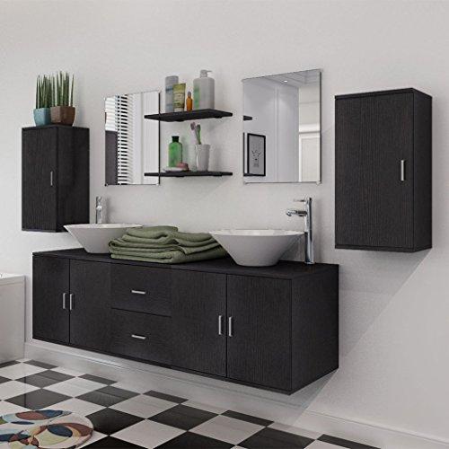 Festnight 9-tlg. Badezimmermöbel-Set Badmöbel Set inkl. Waschbeckenschrank, Wandschrank, Spiegel, Regal und Waschbecken Schwarz