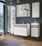 Galaxy Badmöbel-Set / Badmöbelanlage / Komplettbad 6-teilig in Weiß Hochglanz / Blenden Holzdekor, Waschtisch 80 cm, LED-Beleuchtung