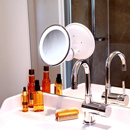 navaris vergr erungsspiegel mit led beleuchtung saugnapf spiegel mit 7fach vergr erung 360. Black Bedroom Furniture Sets. Home Design Ideas