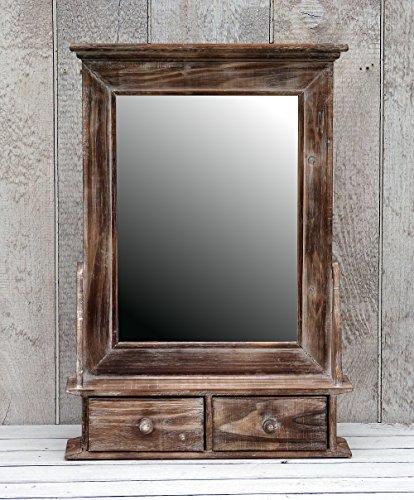 amadeco Bezaubernder Wandschrank Hängeschrank Küchenschrank Spiegelschrank Badspiegel Spiegel Wandregal und 2 Schubladen Braun Landhaus Vintage Shabby Chic - 43,5x62cm