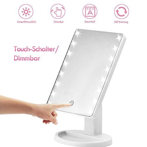 Kosmetikspiegel KYG Schminkspiegel mit 16 LEDs Beleuchtung USB wiederaufladbarer Standspiegel batteriebetrieber Tischspiegel dimmbarer Make up Spiegel (weiß)