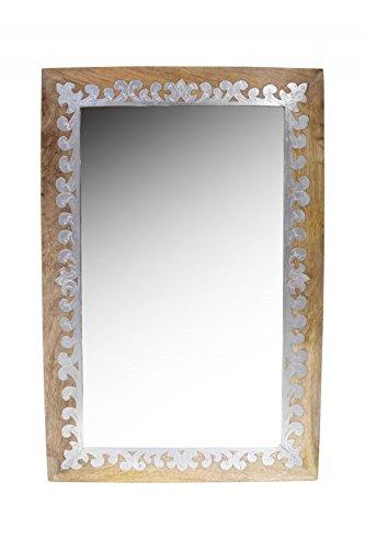 Orient Spiegel Wandspiegel Abid 90cm groß Natur Braun | Großer Marokkanischer Flurspiegel mit Holzrahmen orientalisch verziert | Orientalischer Vintage Badspiegel ohne Beleuchtung als Orientalische Deko
