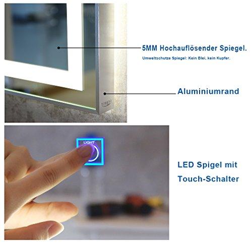 Tonffi® Badspiegel mit beleuchtung 80x60CM 30W LED HD Spiegelleuchte Aluminiumrand IP44 Naturweiß