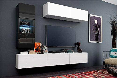 future 12 wohnwand anbauwand m bel set wohnzimmer schrank wohnzimmerschrank matt schwarz wei. Black Bedroom Furniture Sets. Home Design Ideas