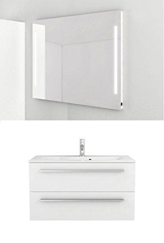 Waschtischunterschrank 90 cm + Leuchtspiegel weiß Hochglanz Waschtisch Waschbecken Waschbeckenunterschrank Unterschrank Badmöbel-Set hängend Sieper Libato (90, weiß)