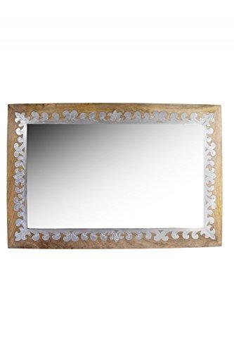 Orient Spiegel Wandspiegel Abid 90cm groß Natur Braun   Großer Marokkanischer Flurspiegel mit Holzrahmen orientalisch verziert   Orientalischer Vintage Badspiegel ohne Beleuchtung als Orientalische Deko
