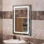 POPSPARKk Badspiegel LED Beleuchtung Wandspiegel Badezimmerspiegel LED Badezimmer Licht Spiegel 9W 50x70x4cm