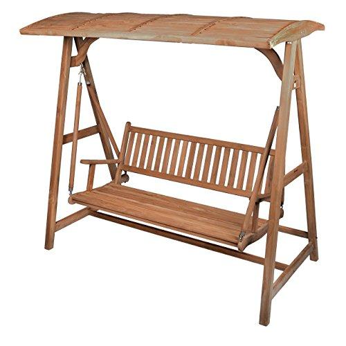 Divero Hollywoodschaukel 3-Sitzer Gartenschaukel Schaukel-Bank aus massivem Teak-Holz 200 cm breit mit Armlehne