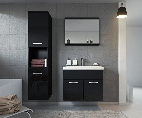 Badezimmer Badmöbel Montreal 60 cm Waschbecken Hochglanz Schwarz Fronten - Unterschrank Hochschrank Waschtisch Möbel