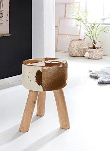 Sitzhocker mit Ziegenfell Echtleder bezogen, Fußhocker, Beistellhocker; Maße (B/T/H) in cm: 35 x 35 x 50