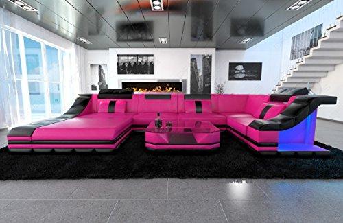 moderne wohnlandschaft turino u form mit led beleuchtung skandinavische m bel. Black Bedroom Furniture Sets. Home Design Ideas