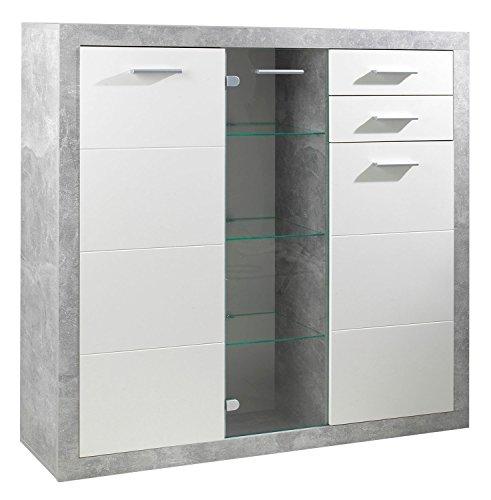 sideboard anrichte mehrzweckschrank sabrina 10 wei hochglanz betonoptik glast r. Black Bedroom Furniture Sets. Home Design Ideas