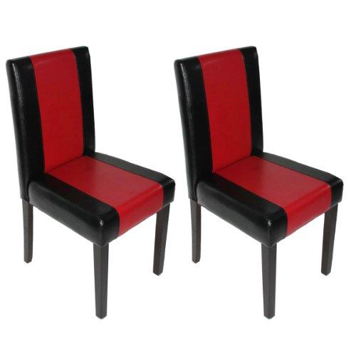 mendler 2x esszimmerstuhl stuhl lehnstuhl littau kunstleder schwarz rot dunkle beine. Black Bedroom Furniture Sets. Home Design Ideas