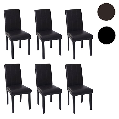 mendler 6x esszimmerstuhl florina stuhl lehnstuhl kunstleder braun dunkle beine. Black Bedroom Furniture Sets. Home Design Ideas