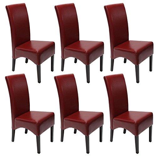 mendler 6x esszimmerstuhl lehnstuhl stuhl latina leder rot dunkle beine skandinavische m bel. Black Bedroom Furniture Sets. Home Design Ideas